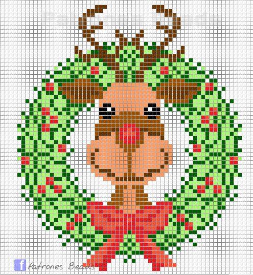Rudolph Christmas wreath perler pattern - Patrones Beads / Plantillas para Hama
