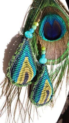 Peacock macrame cavandoli earrings
