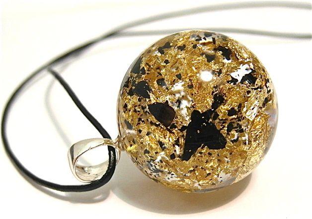 Naszyjnik z drobinkami węgla i złotych płatków - Grol-jewellery - Naszyjniki