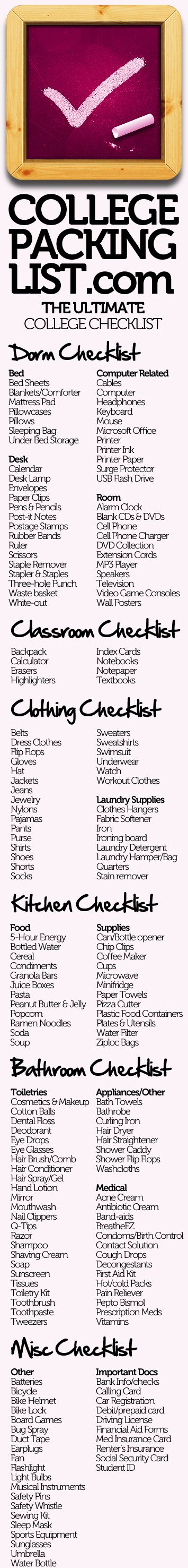 College Packing List!!Colleges Checklist, Colleges Life, Dorm Room, Colleges Pack Lists, Check Lists, Colleges Dorm, College Checklist, Dorm Checklist, College Packing Lists