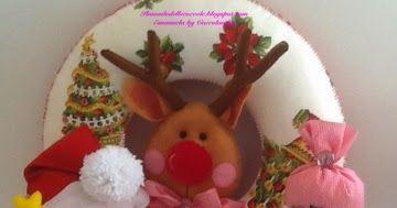 Ancora Natale, ghirlanda di Babbo Natale con la renna Rudolph e il pupazzo di neve, realizzati a mano in pannolenci  e feltro.