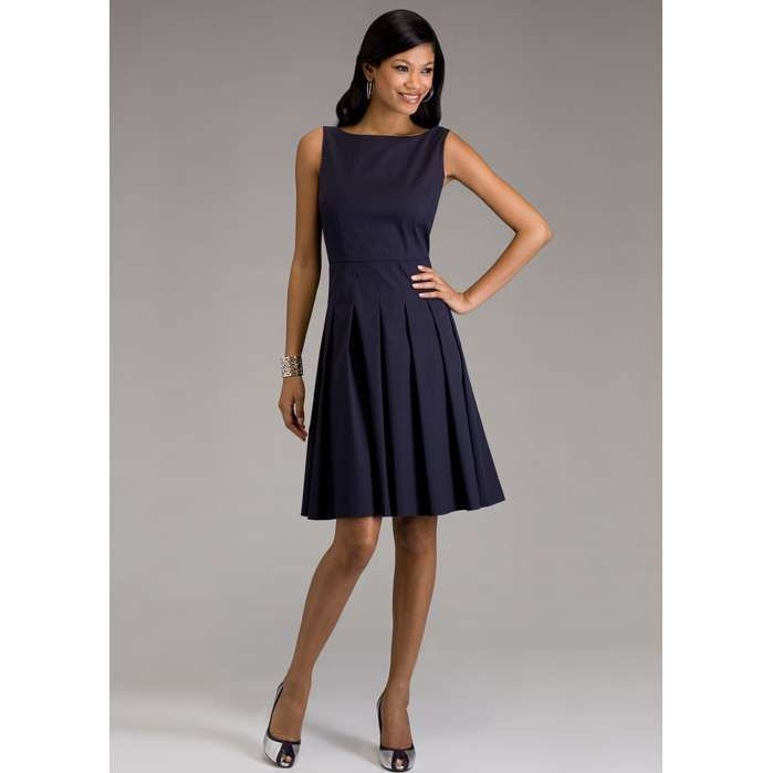 I really like classic dresses like this one. The high scalloped neck is my favorite. Also you can't go wrong with a two color peep toe shoe. :-)