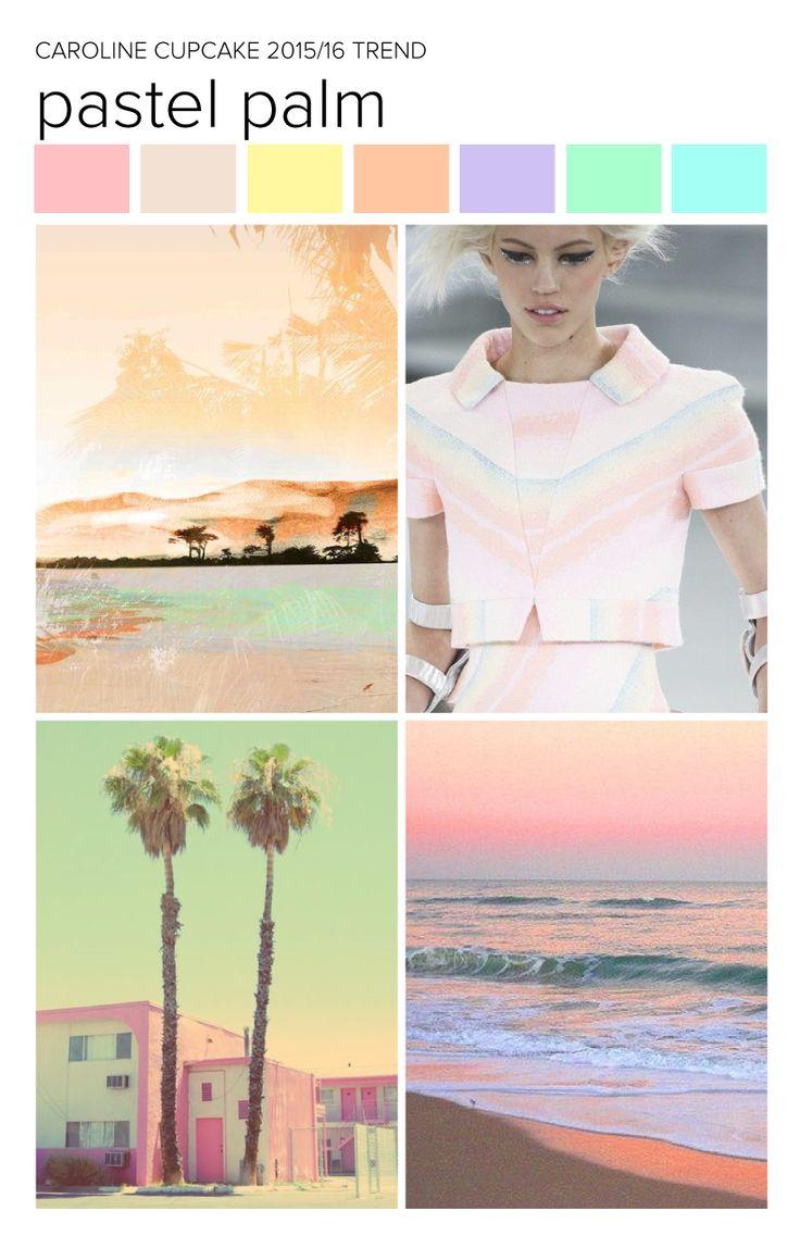 #CarolineCupcake trend inspiration. Pastel Palm | Textiles | Fashion | Mood Board | Pattern | Textile Trend | SS15 | SS16