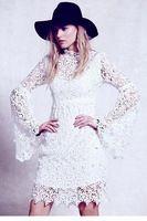 Vestido де ренда 2014 зима сексуальная цветочные кружева длинным рукавом винтаж свободного покроя выпускного вечера богемия платье LC21746 свадебные платья brancos femininos