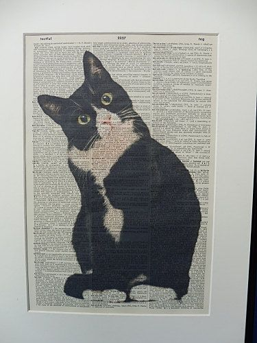 Cat Wall Art Print No.354 black and white cat by DecorisDesigns