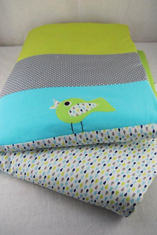 Couverture bébé toute douce en polaire vert avec des oiseaux : Puériculture par 1-2-3-picoti