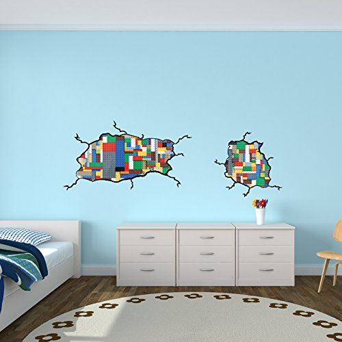 Boys Room Décor, Lego Inspired Wall Stickers, Not Associated with Lego Brand