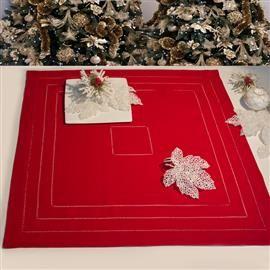 #Centrotavola rosso con #orloagiorno / #Table-centre with double  #hemstitch