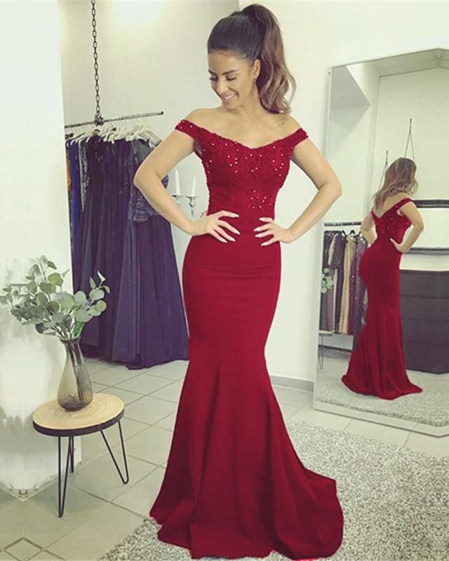 83e5042324a Burgundy Mermaid Dresses Video Shows Item Description   A Glamorous Form  Jersey Floor Length Dress Featuring A V-neck With Lace Appliques Court  Train and ...
