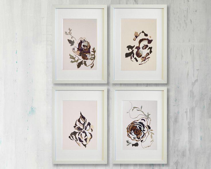 Set Of 4 Artworks Wall Art Set Dining Room Wall Art #prints #pressedflower #
