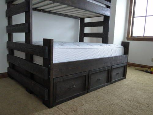 Twin over queen bunk with trundle kid spaces pinterest 2 twin beds make a queen