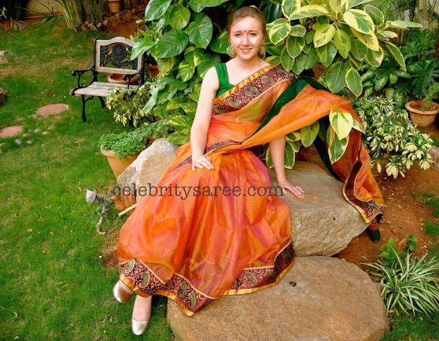 Orange Kota Saree with Brocade Border - Saree Blouse Patterns