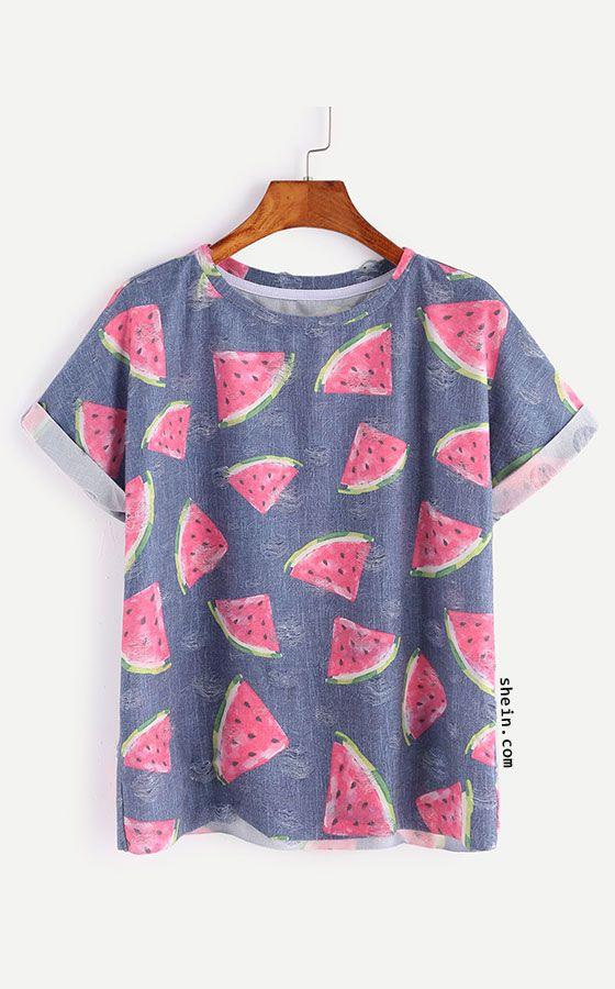 Blue Watermelon Print Short Sleeve T-shirt