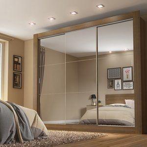 Guarda-Roupa Casal 3 Portas com Espelho Campos Plus Madesa Rustic/ Acácia