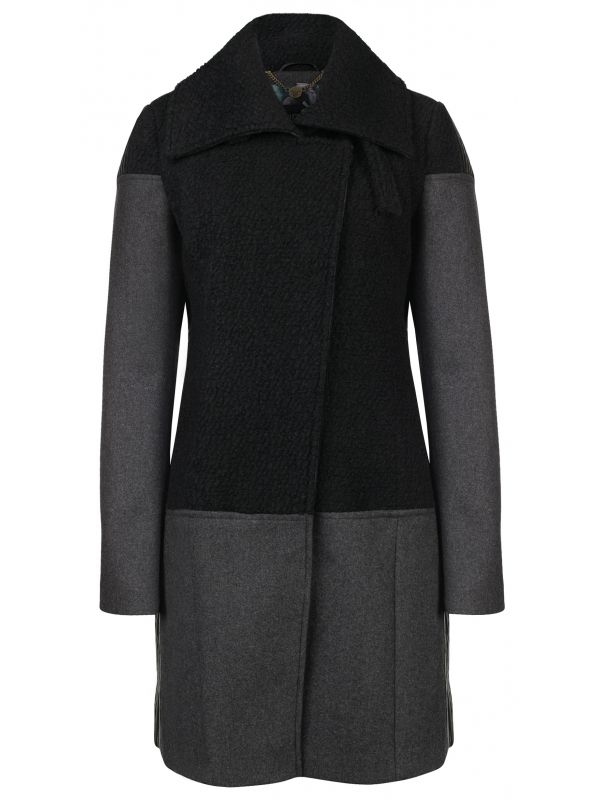 Woven coat frizzy wool black - Dept