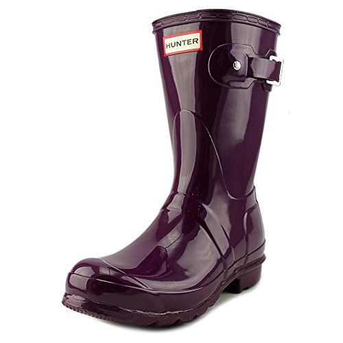 Hunter Womens Original Short Gloss Bright Plum Boot  6 -- Details can be found by clicking on the image.