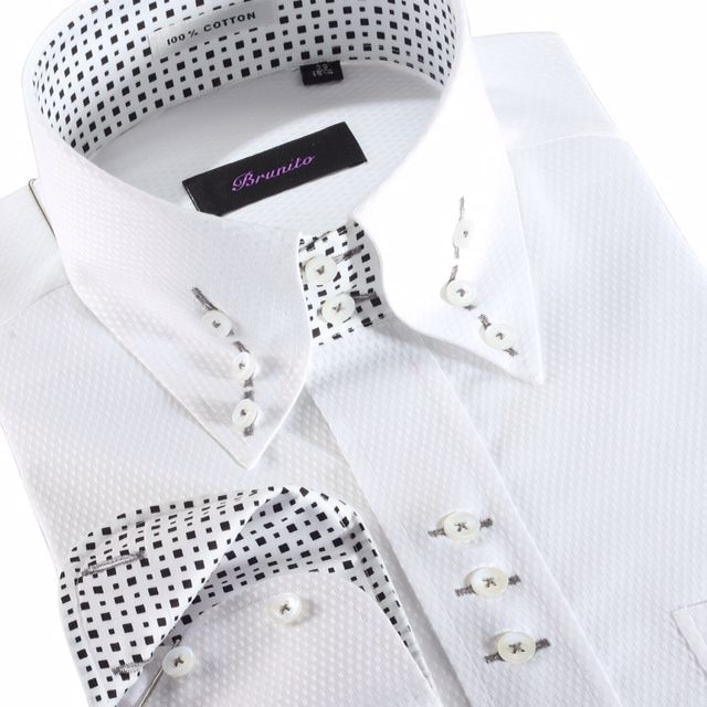 Designer Shirt in White - Black and White Contrast. http://brunitoshirts.com