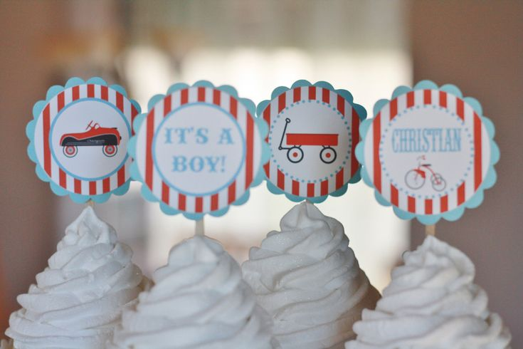 12 - Vintage Toy Wagon Car Airplane Baby Shower or Birthday Theme Cupcake or Cake Toppers- Ask About our Party Pack Sale. $12.00, via Etsy.