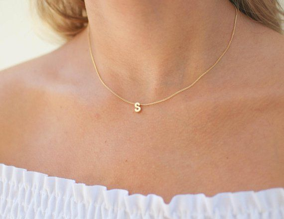 Personalized Initial Necklace Script Letter Necklace 14k Etsy Initial Necklace Gold Diamond Necklace Initial Necklace
