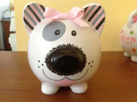 Personalized Large Piggy Bank Puppy Dog paw by KUTEKUSTOMKREATIONS