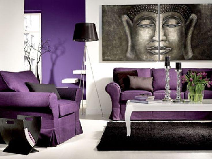 die besten 25+ lila wohnzimmer ideen auf pinterest | lila sofa ... - Wohnzimmer Ideen Schwarz Lila