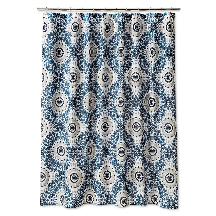 ikat medallion shower curtain blue threshold washed blue
