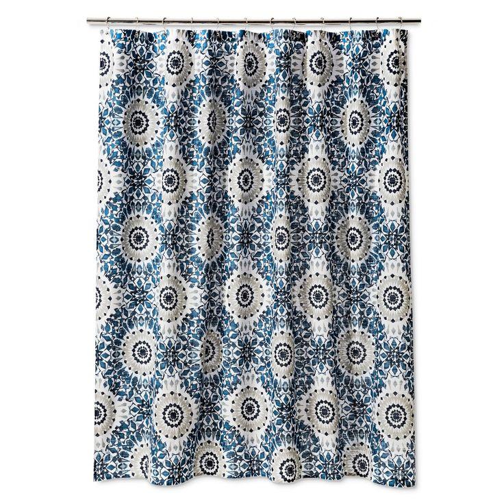 Threshold Ikat Medallion Shower Curtain - Blue, Washed Blue