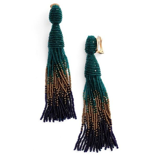 Women's Oscar De La Renta Ombre Long Tassel Clip Earrings ($395) ❤ liked on Polyvore featuring jewelry, earrings, emerald multi, beaded tassel earrings, clip earrings, clip on earrings, tassle earrings and emerald earrings