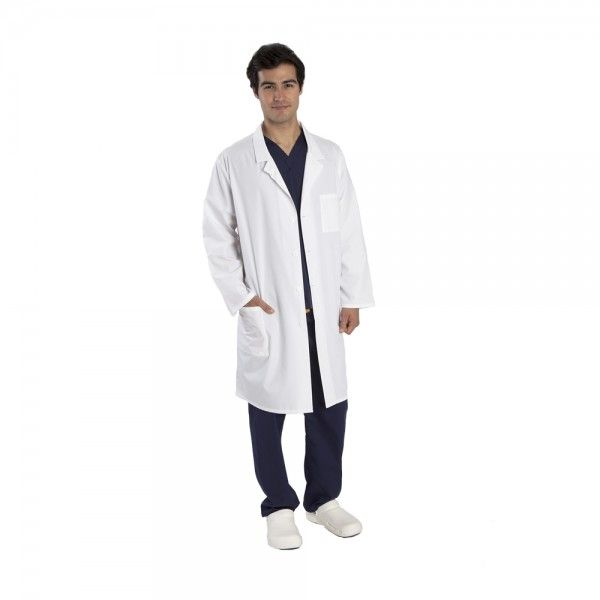 """Budget Unisex White Lab Coat. The Budget unisex white lab coat is a great value basic white coat. This doctors coat has a classic cut, with a four-button closure. This doctors white coat has three pockets for all your bits and pieces: two front patch pockets and one left chest pocket with a pen pocket. A small size white lab coat measures 39"""" long. The Budget white lab coat is made from 33% cotton and 66% polyester. £19.99  #labcoat #malenurse"""