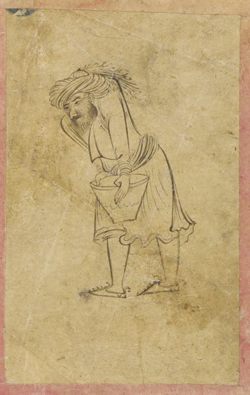 Hunchbacked man carrying pot 1640s Safavid period  Ink on paper H: 10.8 W: 6.7 cm  Probably Isfahan, Iran  Purchase F1953.32  Freer-Sackler | The Smithsonian's Museums of Asian Art