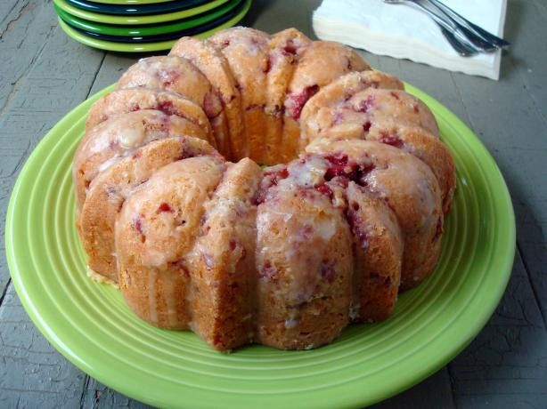 Fresh Strawberry Yogurt Cake from Food.com:   								This super moist cake weeps pink tears down its tender slices. AMAZING!