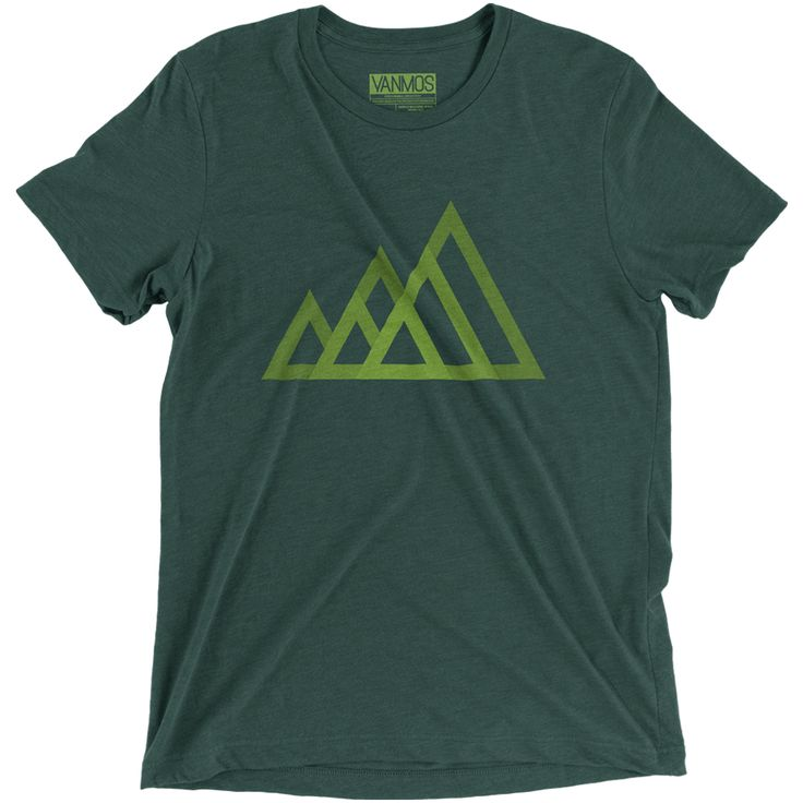 MOUNTAINS. Short sleeve men (unisex) t-shirt. A triblend ultra soft fabric that makes you feel comfortable. 50/25/25 polyester/combed ring-spun cotton/rayon. Unisex sizing, normal fit. Featured Color Tri-blend Dark green. Eco-friendly water-based inks
