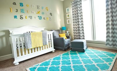 Gray, Yellow and Aqua Baby Boy Nursery: Our baby boy's nursery was inspired by the Land of Nod Not A Peep Bedding.   As it's our first baby, we wanted to do more of a gender neutral color scheme