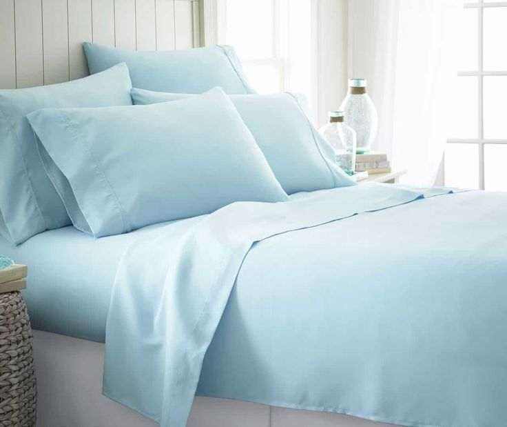 Soft Essentials Double-Brushed Microfiber 6 Piece Bed Sheet Set - Aqua - Twin XL - 12 Units