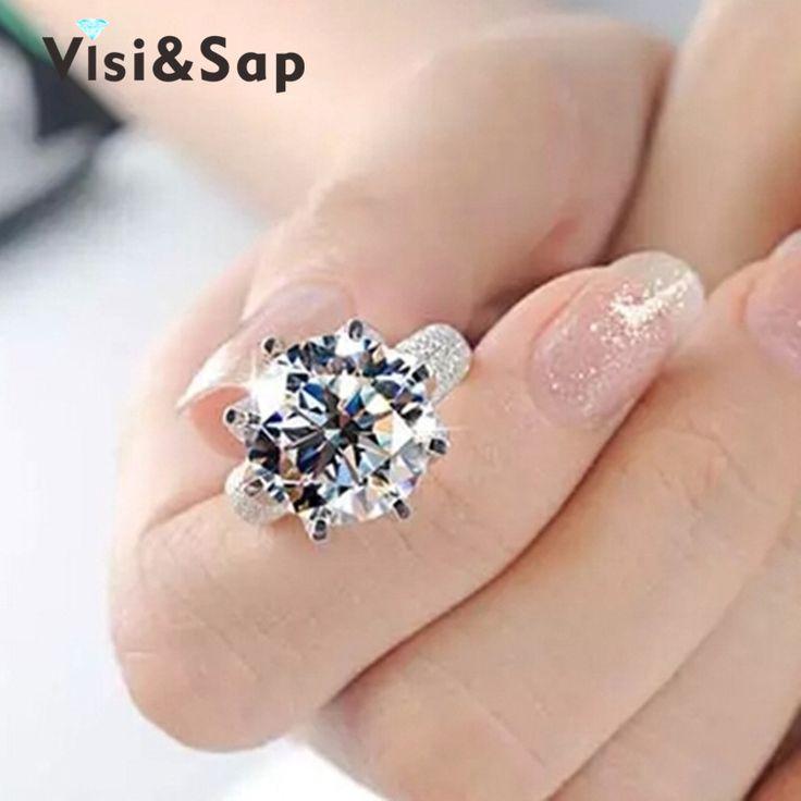 Blanco plateado anillo 8 Quilates Corona AAA CZ Diamond beads Anillos de boda Para Las Mujeres de Lujo de Compromiso tamaño 5-11 joyería de moda VSR064
