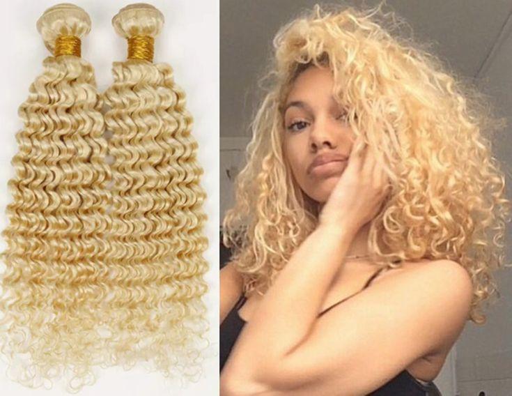 3bundles human hair weaving blonde human hair bundles 613 human hair extensions deep curly hair wefts