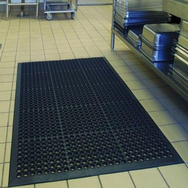 Bar Kitchen Industrial Anti Fatigue Drainage Rubber Non Slip Hexagonal Mat Black Anti Fatigue Flooring Anti Fatigue Floor Mats Bar Flooring