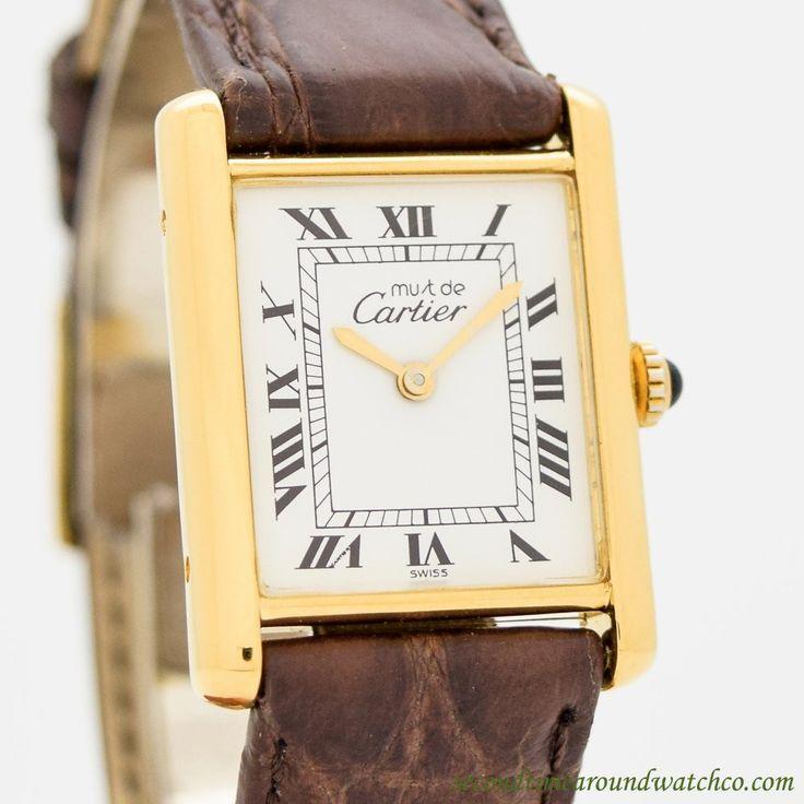 1990's Cartier Tank Must De 14k Yellow Gold Plated Watch