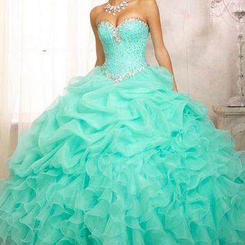 2014 New Blue Quinceanera Formal Prom Dress Ball Gown party evening Custom Size