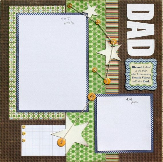 Premade Scrapbook Page 12 x 12 Father Layout Dad by designstudioL