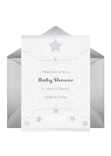 "Set guests hearts twinkling with a ""Star Light, Star Bright"" themed baby shower. Custom invites will have guests ready to sparkle.         Send This Invitation: http://www.punchbowl.com/p/star-light-star-bright"