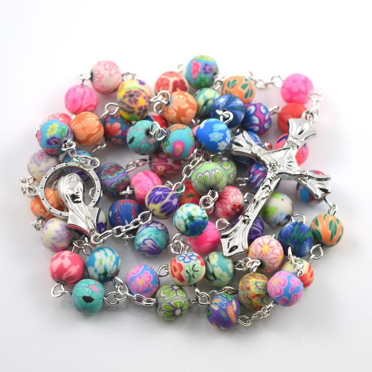 2017 fashion polymer clay round bead catholic rosary colorful quality bead