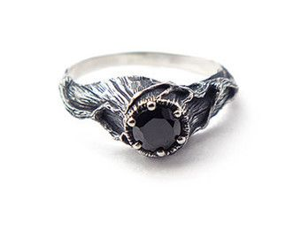 wicca black ring wiccan jewelry black stone ring black engagement ring sterling - Wiccan Wedding Rings