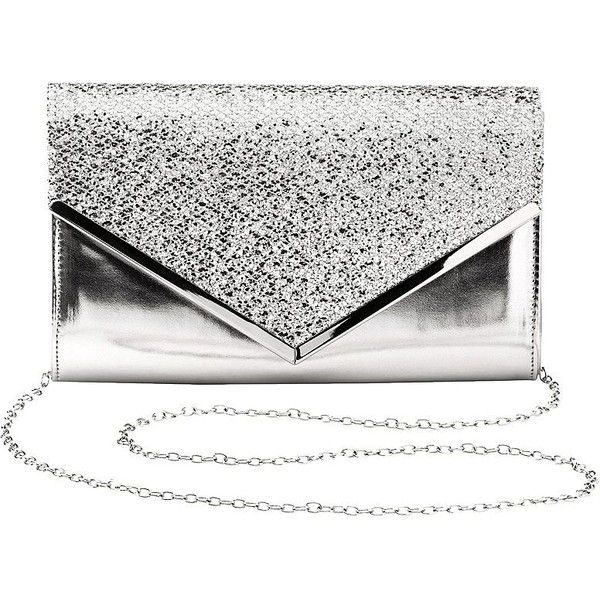 Charlotte Russe Glitter Metallic Envelope Clutch ($17) ❤ liked on Polyvore featuring bags, handbags, clutches, silver, white handbag, sparkly purses, silver handbags, metallic clutches and glitter clutches