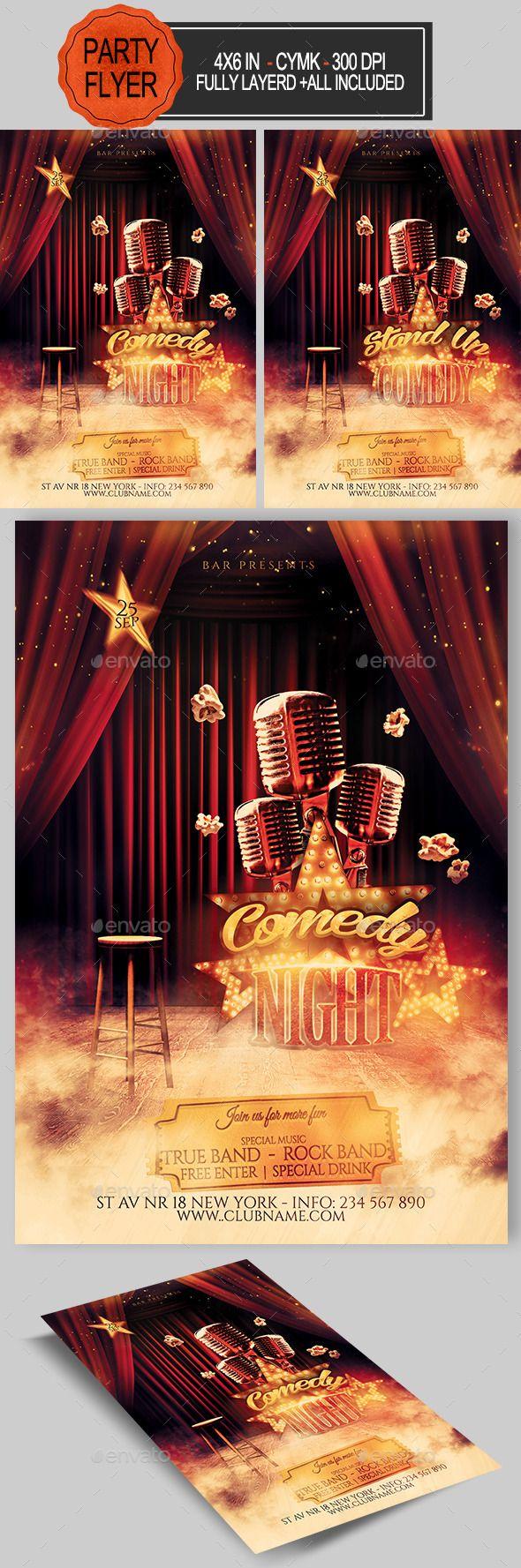 Comedy Night Flyer Template #design Download: http://graphicriver.net/item/comedy-night-flyer/12678658?ref=ksioks