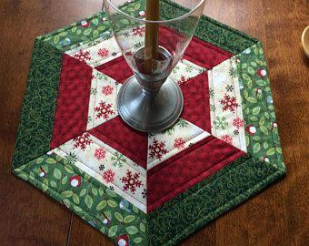 """Invierno nieve copos y aves acolchado hexagonal el corredor de la tabla 17"""", estera de la vela, tabla de Topper"""