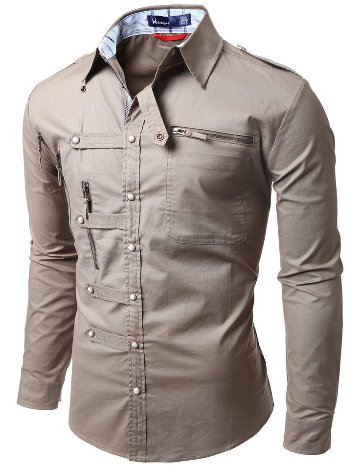 Camisas para hombre con la Doublju punto Cremallera BEIGE (US-XS)
