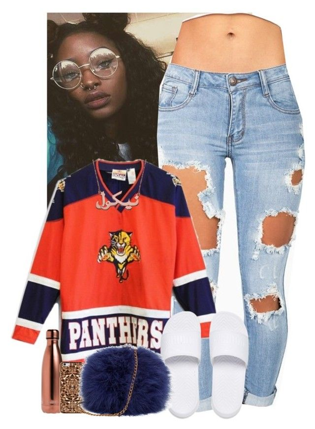 """""""I just be chilling✨❄️"""" by jemilaa ❤ liked on Polyvore featuring Machine, Puma, S'well and Felony Case"""