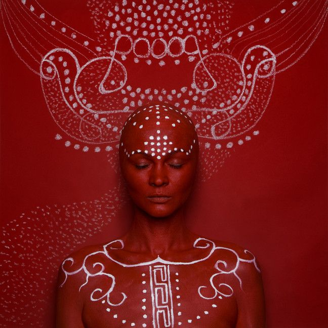 visions, portraits, epistrophy, red and white, body painting