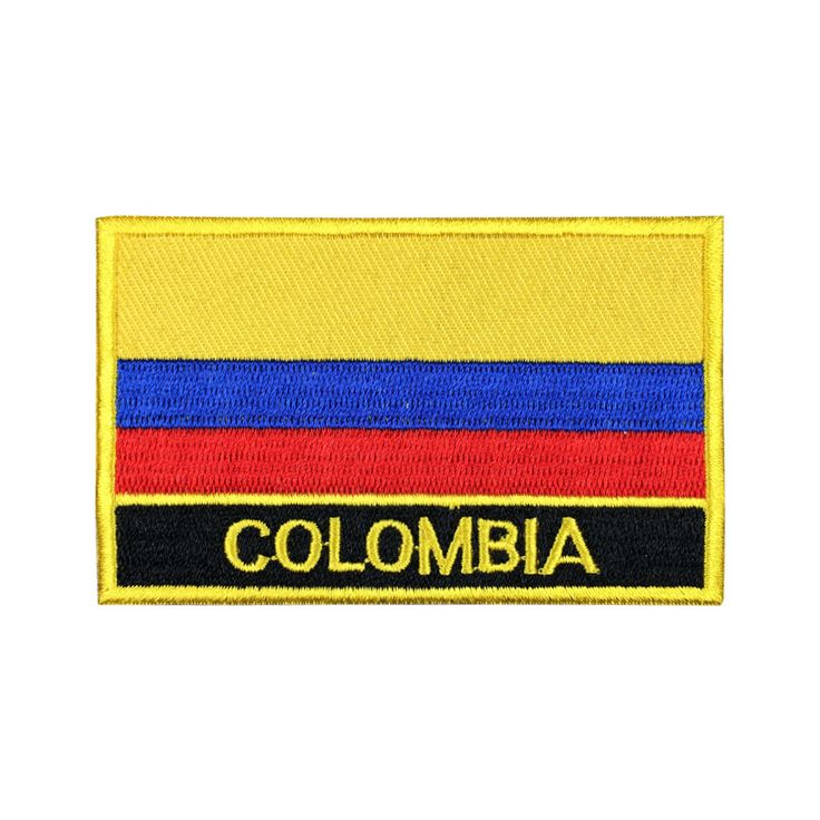 Colombia Flag Patch Embroidered Patch Gold Border Iron On patch Sew on Patch Bag Patch meet you on Fleckenworld.com